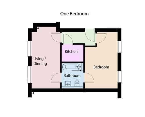 one bed floorplan
